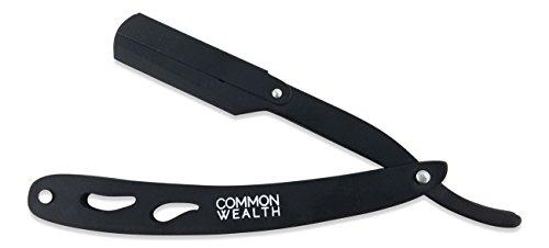 Common Wealth Professional Folding Stainless Steel Barber Straight Edge Shaving Razor (Black)