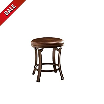 Amazon.com: Small Vanity Stool Vintage Wood Portable Backless Bronze ...