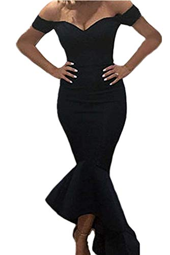 Astylish Womens Evening Dress Off Shoulder Flouncing Mermaid Formal Prom Gowns X-Large Black -
