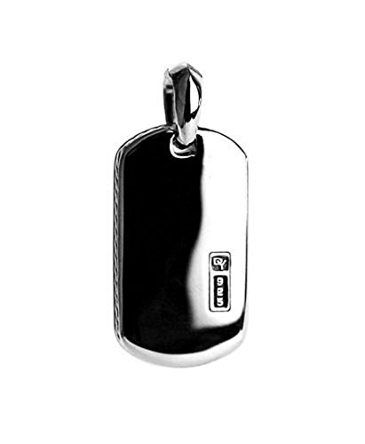 (David Yurman Sterling Silver Small 27 mm ENGRAVABLE Dog TAG Enhancer 9T)