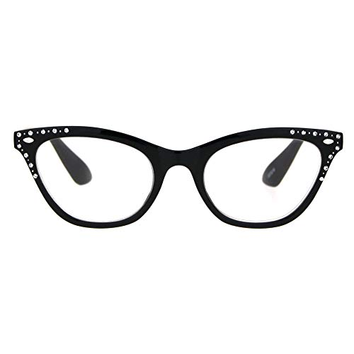 Womens Bling Rhinestone Plastic Cat Eye Horn Rim Powered Reading Glasses Black 2.0