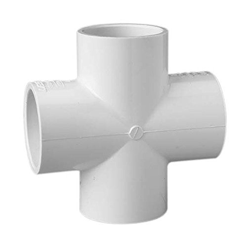 Schedule 40 PVC Pipe Slip x Slip x Slip x Slip Cross Fitting (2