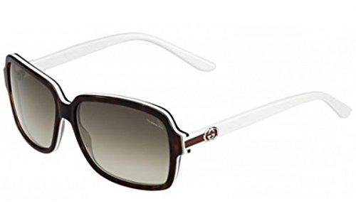 Gucci GG3583/S Sunglasses-0L9Y Dark Havana White (HA Brown Gradient Lens)-57mm