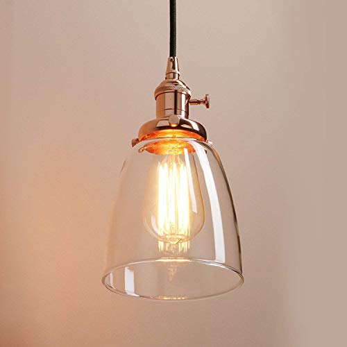 (THD Pendent Lamp Retro Industrial 3-Lights Hanging Lamp Creative Parlor Dining Hall Dining Table Bedchamber Study Ceiling Lighting Glass Lampshade E27 Lamp Socket, Copper Col)
