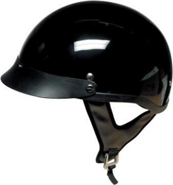 DOT Gloss Black Motorcycle Half Helmet with Removable Visor (Size L, LG, Large) -