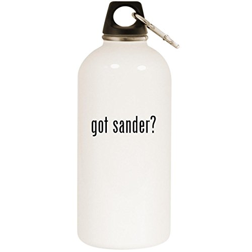Molandra Products got Sander? - White 20oz Stainless Steel Water Bottle with Carabiner (Belt Kalamazoo Sander)