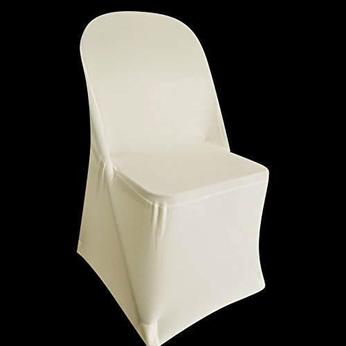 SPRINGROSE 100 Ecoluxe Ivory Spandex Stretch Folding Chair Covers | Sleek, Resilient Polyester & Elastic Spandex | for Wedding, Bridal Showers, Anniversary Party, Receptions, Celebrations, More by SPRINGROSE (Image #8)