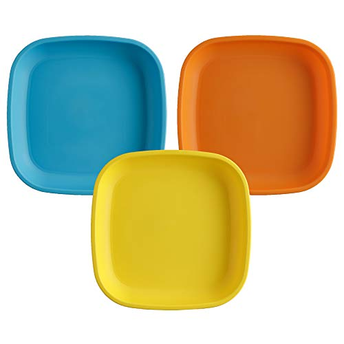"""Re-Play Made in USA 3pk - 7.37"""" Plates with Deep Sides for Easy Baby, Toddler, Child Feeding - Sky Blue, Orange, Yellow (Spring Collection) Eco Friendly Heavyweight Recycled Polypropylene"""