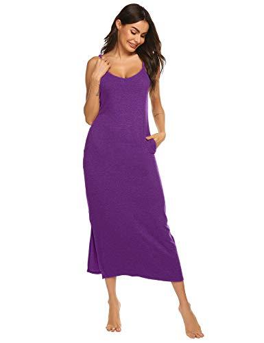 (Sexy Nightgowns for Women Cotton Spaghetti Strap Slit Sleep Shirt (Purple,M))