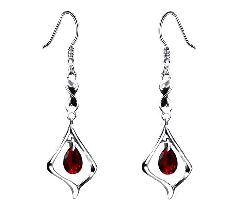 (Purple Gemstone Gold Plate 925 Sterling Silver Drop Earrings for women (red))