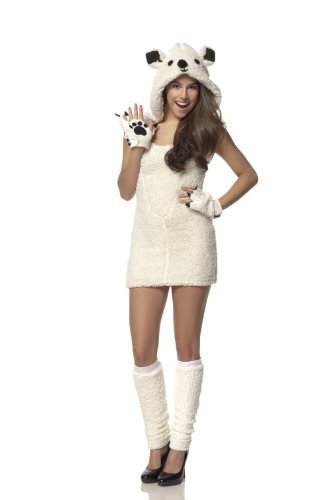 Christmas Polar Bear Costumes (Mystery House Costumes Teen Polar Bear, White, Small)