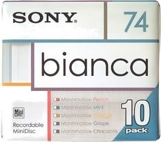 Sony Bianca Series MiniDisk 74 Min 10 Pack Recordable MD