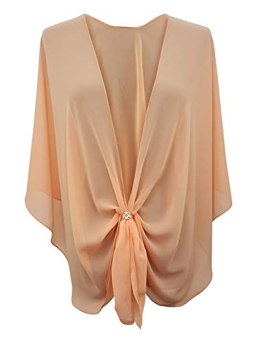 eXcaped Women's Evening Shawl Wrap Sheer Chiffon Open Front Cape and Rose Gold Scarf Ring (Apricot)