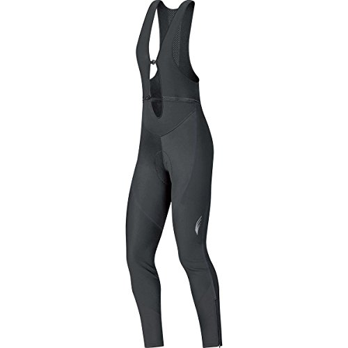 GORE BIKE WEAR Women's Long Warm Soft Shell Cycling Tights with Braces, Seat Padding, GORE WINDSTOPPER, ELEMENT LADY WS SO Bibtights+, Size 36, Black, WWELLP