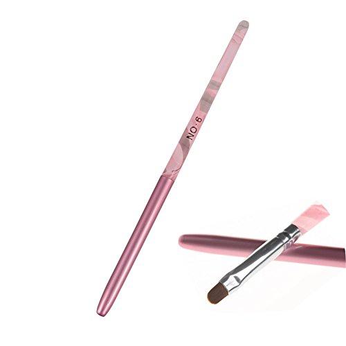 BORN PRETTY 1Pc Nail Art UV Gel Brush Pen With Cap Pink NO.6 UV Gel Nail Art Manicure Tool