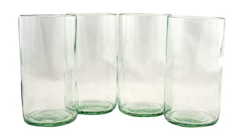 Tumblers Flat Bottom Made From Recycled Wine Bottles - set of 4 (Clear, 16 - Glass Green Recycled