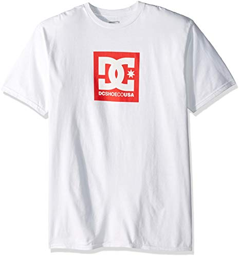 (DC Men's Square Star Short Sleeve, Snow White, XL)