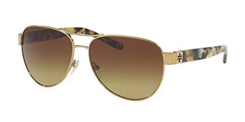 Tory Burch TY6051 Womens Gold Frame Brown Lens Aviator ()