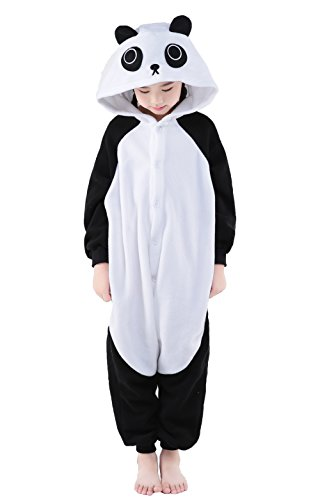 NEWCOSPLAY Unisex Children Panda Pyjamas Halloween Kids Onesie Costume (105, Panda)