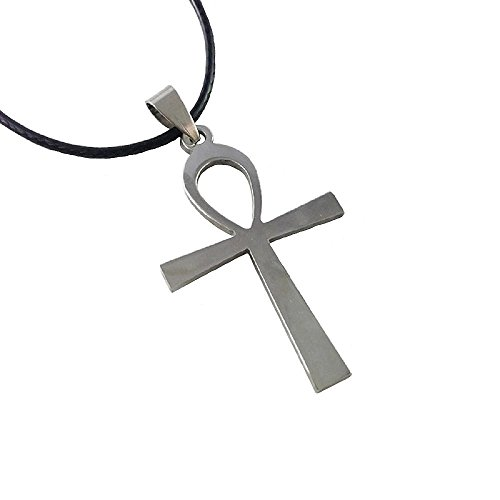 Dastan Necklace Stainless Steel Egyptian Ankh Cross Pendant on Leather Cord