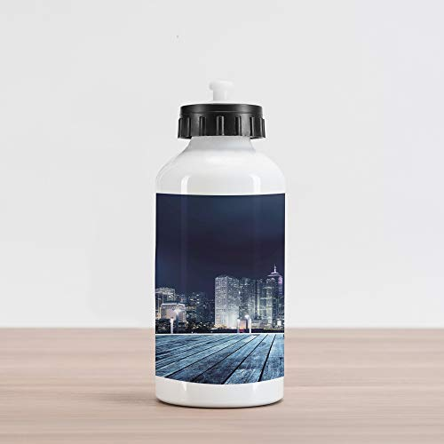 Lunarable Landscape Aluminum Water Bottle, Asia China Hong Kong City Skyline View at Blue Night Towers and Skyscapers Photo, Aluminum Insulated Spill-Proof Travel Sports Water Bottle, Navy Blue ()
