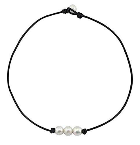 - alfa perry Freshwater Pearl Choker Necklace for Women Genuine Leather Jewelry Handmade (16'' Three Pearl)
