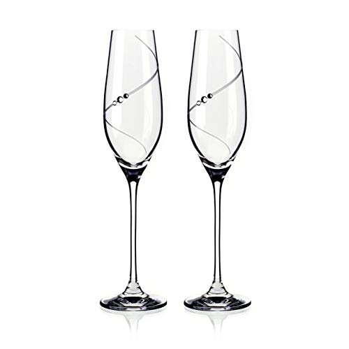 Hand Made Champagne Flutes Glasses with Genuine Swarovski Crystals, Set of 2, Lead Free (Tangled Hearts)