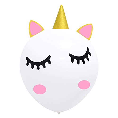K KUMEED DIY Unicorn Balloons, 36 inches Large Balloon for Party Decoration, Unicorn Party Supplies for Kids, Baby Shower, Birthday, Wedding with Glitter Horn Ears Eyelashes - White 1 pack -