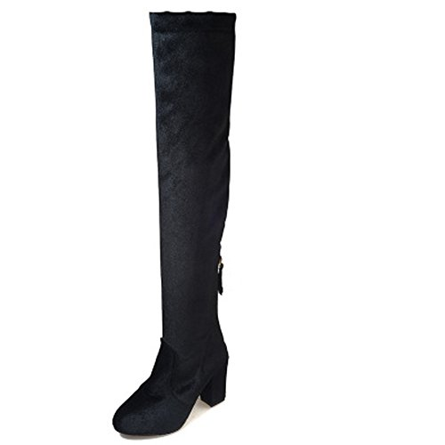 Womens Thigh High Over The Knee Frosted Suede Wide Calf Tall Stretch Elastic Zip High Block Heel Boots Black