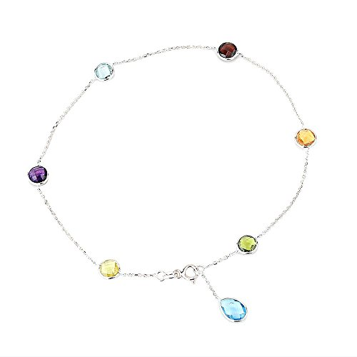 14K White Gold Gemstone Anklet Bracelet With A Blue Topaz Drop 9 -11 Inches by amazinite