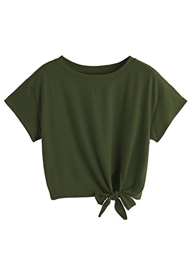 SweatyRocks Women's Loose Short Sleeve Summer Crop T-shirt Tops Blouse Army Green -