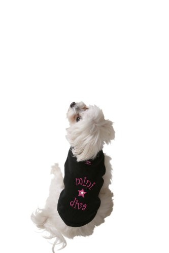 Diva Dog Tee (Doggie Tank Top, Mini Diva, Black, Medium)