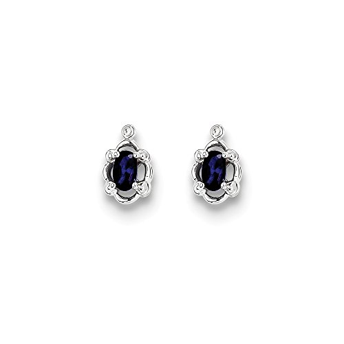 Mia Diamonds 925 Sterling Silver (.01cttw) Simulated Sapphire and Diamond Earrings (10mm x 6mm) by Mia Diamonds and Co.