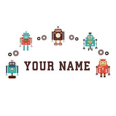 Personalized Kids Name Wall Decal Retro Robots