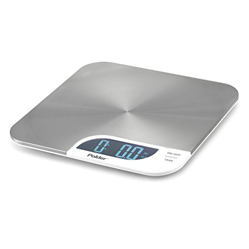 Polder KSC-345-90 Slimmer Stainless Steel Digital Kitchen Scale with Backlit LCD Display, 11-Pound (5 kg.) Capacity, White