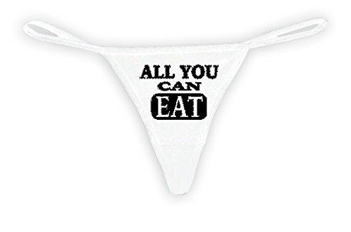 Sexy Funny Women's White Thong G-string: Black