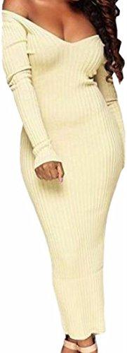 Jaycargogo Femmes V Cou Large Robe Maxi En Maille À Manches Longues Épaule 1
