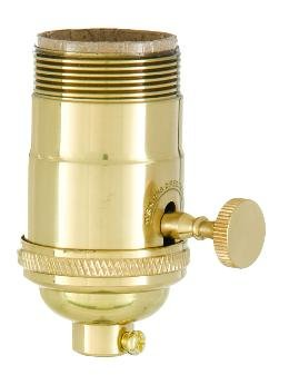 B&P Lamp 3-Way Heavy Duty, Turned Brass Socket, Polished & Lacquered Finish -
