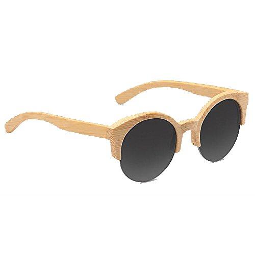 Medias Redondas ANLW con Unisex Gafas De Gafas De De Madera Gafas Gafas De UV400 De Madera Bambú Graytablets Sol Mujer Retro Madera Polarizadas De Caja R8rw8Xq