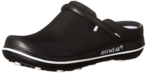 Comfortable Nursing Shoes - Anywear Women's Alexis-W, Black/White, 9 M US