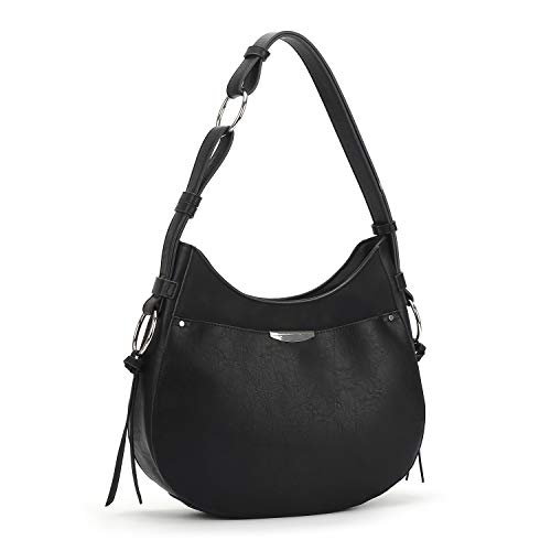Patchwork Front Pocket Satchel - Hobo Purses and Handbags for Women Top Handle Tote and Black Satchel Shoulder Bags