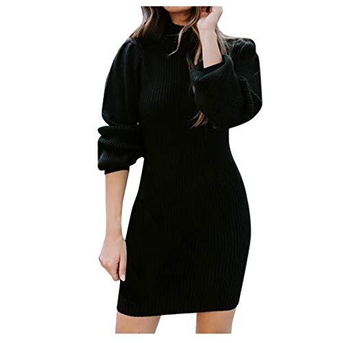 KI-8jcuD Modieuze trui-jurk voor dames, nauwsluitende jurk, rolkraag, trui, jurk met lange mouwen, gebreide jurk, trui…