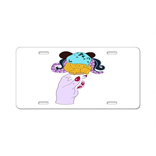 (Seandsf Disneyland Ice Cream Ursula Metal License Plate Cover Holder for Car Front Back Decor)