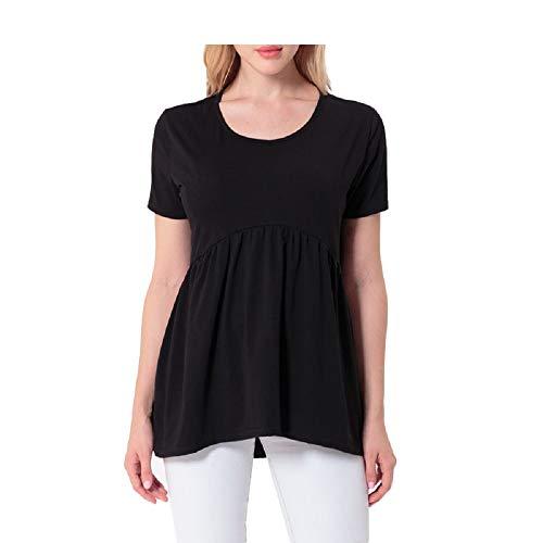 Colore L Camicie da Dimensione Shirt Donna Tinta Unita Corta Camicetta Manica Maglieria Camicetta Tondo Nero Donna Lunga Corto Anteriore da Nero Heeecgoods T Collo BqH5dqC