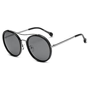 Cramilo CA14K Polarized Lens Oversize Retro Round Sunglasses (Silver / Gray with Black Rims, 56)