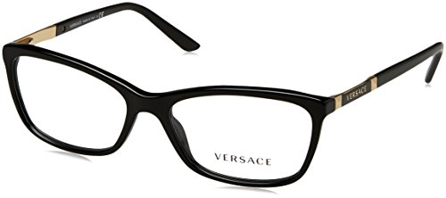 Versace VE3186 Eyeglass Frames GB1-54 - Black - Eyeglasses Versace For Women