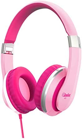 Elecder i41 Kids Headphones, Headphones for Kids Children Girls Boys Teens Foldable Adjustable On Ear Headphones with 3.5mm Jack for iPad Cellphones Computer MP3 4 Kindle Airplane School Pink Purple