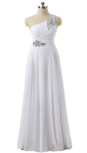 RohmBridal One Shoulder Chiffon Long Formal Prom Bridesmaid Dress White 0