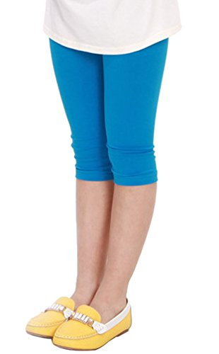 BecyWell Kids Girls Modal Capris Leggings Candy Color Cropped Tights Pants Lake Blue(6-8Y,Tag XL) (Cropped 7)