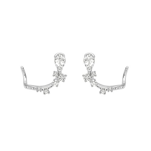 AS29 Boucles d'Oreilles Or Blanc 18 carats (750/1000) Ronde Diamant Blanc Femme